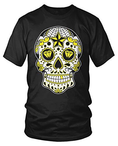 Amdesco Men's Dia De Muertos Sugar Skull, Day of The Dead T-Shirt, Black Medium -