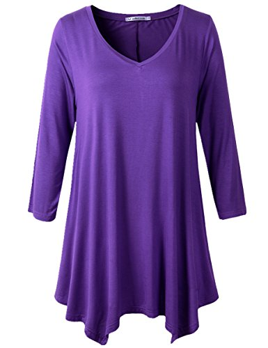 JollieLovin Womens Plus Size 3/4 Sleeve V-neck Flare Hem Loose-fit Tunic Top (3X, E DEEP PURPLE) (Plus Size Women Clothing)