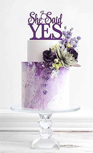 [USA-SALES] She Said Yes Cake Topper, Purple, Bridal Shower, Engagement Party Decoration, by USA-SALES Seller -