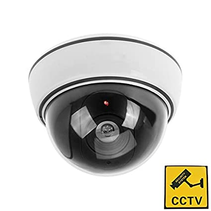 1x Phot-R P-DC50WH Outdoor Indoor Fake Imitation IR CCTV Blinking Red LED Flashing Light Surveillance Security Mini Speed Dummy Dome Camera with Warning Sticker-White