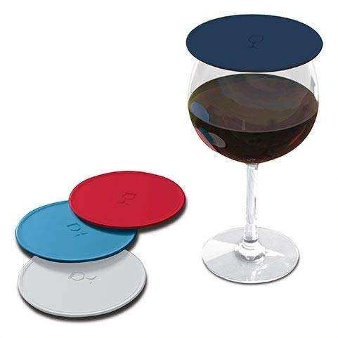 (Drink Tops MOD Tap and Seal Outdoor Drink Covers, 4pk- Nautical, Gently Suctions to Glasses Keeping Bugs Out, Aromas In, and Reduces Splashing)