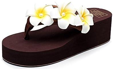 Easemax Damen Elegant Blume Künstliche Perlen Zehentrenner Mules Braun 36 EU 71oRx37BB