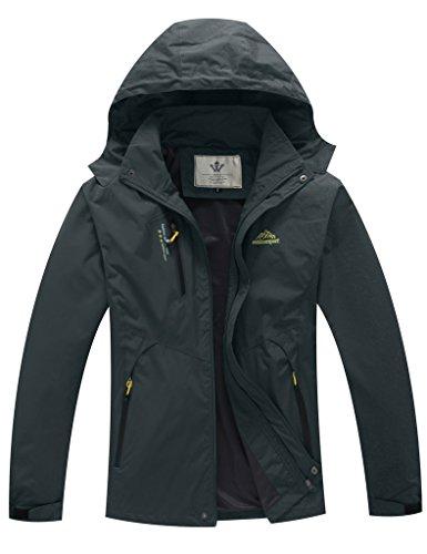WenVen Mens Lightweight Waterproof Coat Outdoor Hooded Rain Jacket Softshell
