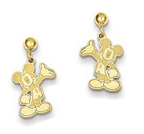 Disney Dangle Earrings (Roy Rose Jewelry Gold-plated Sterling Silver Disney Waving Mickey Mouse Dangle Post Earrings)
