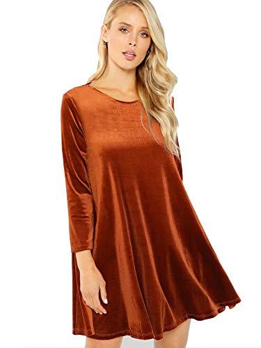 - Verdusa Women's Velvet Swing Dress Long Sleeve Shift Tunic Dress Rust M