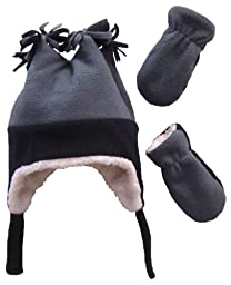 N\'Ice Caps Boys Sherpa Lined Micro Fleece Four Corner Ski Hat and Mitten Set (6-18mo, Infant - Black/Charcoal Grey)