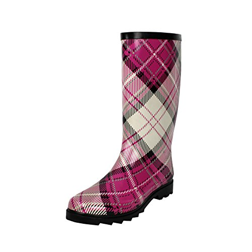 Women's Waterproof Calf Rainboots Rubber Pink Mid West Blvd Plaid qCwaxTfH