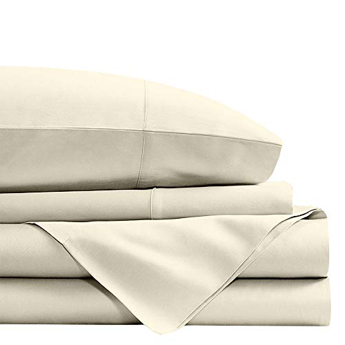 ARlinen 4 Piece Sheets Set on Amazon Egyptian Cotton 400-Thread-Count 15-Inch Deep Pocket Durable Sateen Finish Comfortable (Ivory Solid, Short Queen)