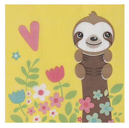 Cocktail Napkins - 150-Pack Luncheon Napkins, Disposable Paper Napkins Baby Shower Party Supplies, 2-Ply, Cute Sloth Design, Unfolded 13 x 13 Inches, Folded 6.5 x 6.5 Inches