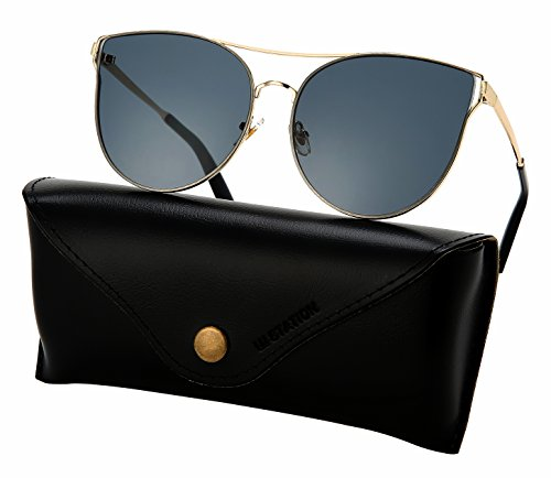 Mirrored Sunglasses for Women, Cat Eye Sunglasses, Rimless Sunglasses with Sunglasses Case - Sunglasses D&y