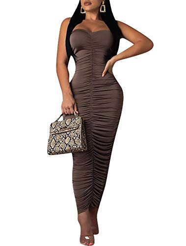 Remelon Womens Sexy Strapless Ruched Tube Top Bodycon Tight Fit Party Long Skirt Maxi Dress Gray L