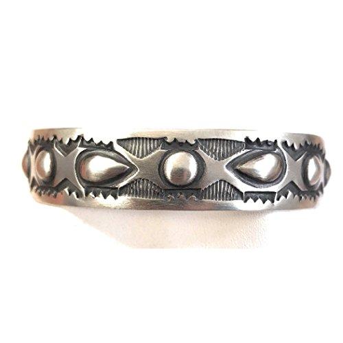 Bracelet Cuff Signed (Nizhoni Traders LLC Nora Bill Sterling Silver Navajo Hand Made Cuff Bracelet Signed)