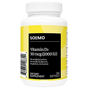 Amazon Brand - Solimo Vitamin D3 50mcg (2000 IU), 365 Softgels, Value Size - One Year Supply