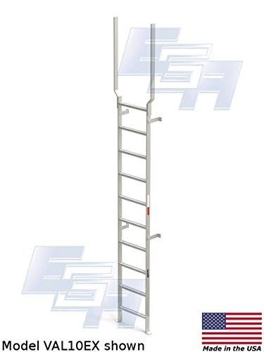Aluminum Vertical Ladder with Rail Extensions (10 rung, 159 inch) by EGA Products - A lightweight heavy duty ladder [Made in USA] by EGA