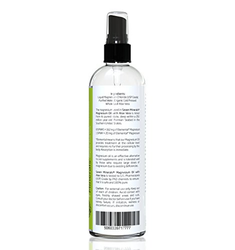 Amazon.com: Travel Size Magnesium Oil with Aloe Vera - LESS ITCHY - Made in USA - SEE RESULTS OR - Best Cure for Restless Legs, Leg Cramps, Sore Muscles.