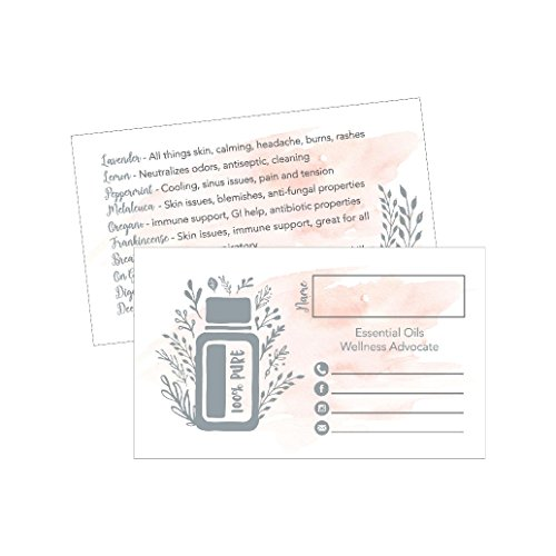 25 Watercolor Essential Oils Business Cards, For Doterra, Young Living YL Marketing Supplies, Tools Brochures Accessories Planner Book Mark with Oil Reference Instructions, Party Thank You Gift Favors by Hadley Designs
