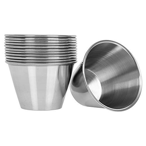 ((12 Pack) Stainless Steel Sauce Cups 4 oz, Commercial Grade Dipping Sauce Cups, Individual Condiment Sauce Cups / Ramekins by Tezzorio)