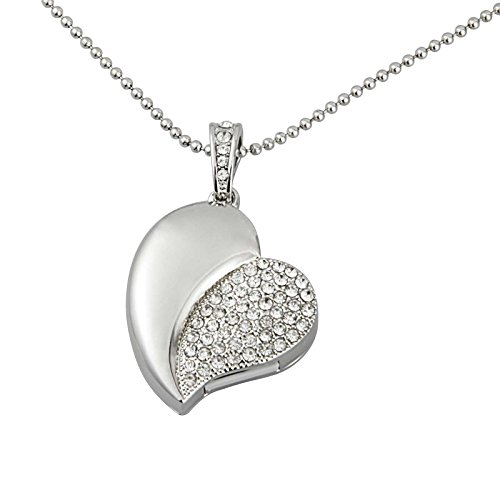 KOOTION Crystal Asymmetric Heart Shape Jewelry USB Flash Memorry Drive with Necklace-Silver (Usb Flash Drive Necklace)