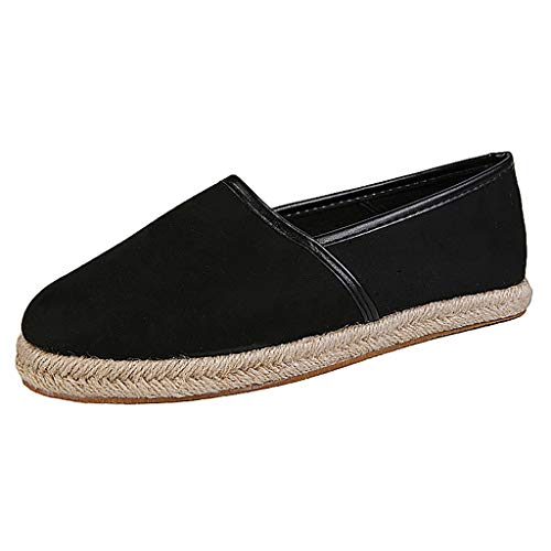 Women Loafers Vintage Out Shoes Round Toe Platform Flat Heel Buckle Strap Casual Walking Shoes (US:7, Black 03)