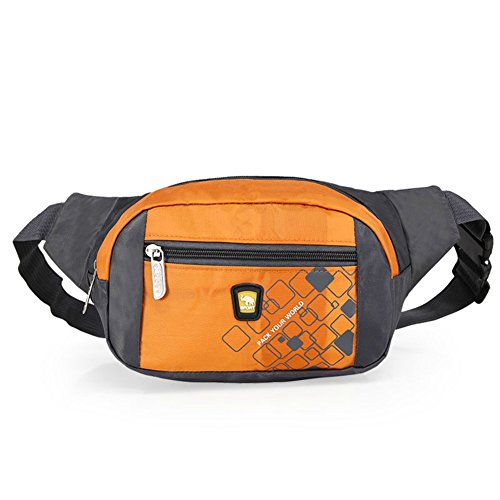 OpetHome Portable Small Water Resistant Nylon Fanny Packs Bag for Hiking Running Sports Orange