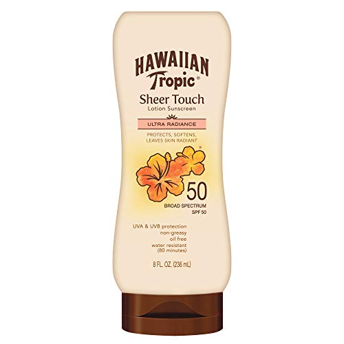 - Hawaiian Tropic Sheer Touch Lotion Sunscreen, Moisturizing Broad-Spectrum Protection, SPF 50, 8 Ounces - Pack of 2