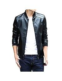 Pervobs Men Cool Leather Jacket Warm Winter Slim Trench Zipper Coat Outwear Overcoat