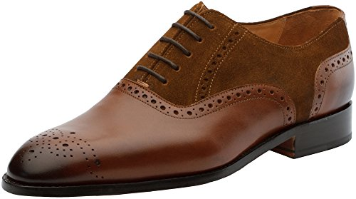 3DM Lifestyle Genuine Leather Handcrafted Mens Suede Combination Oxford Brown