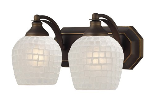 Elk 570-2B-WHT 2-Light Vanity in Aged Bronze and White Mosaic Glass
