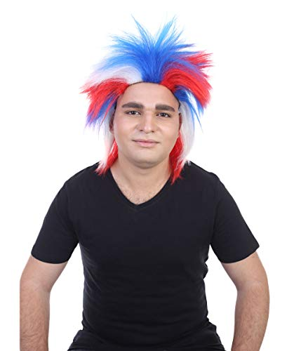 Halloween Party Online US Patriotic Fuzzy Wig, Red/White/Blue Adult HM-127]()