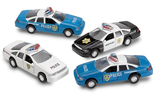 - Kicko Pull Back Diecast Police Cars - 4 High Speed Vehicle Set Toy for Kids