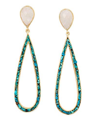 (Rainbow Moonstone Turquoise Chip Teardrop Earrings Gold-plated Sterling)