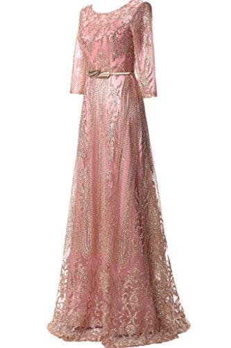 vestido ivyd vestido Mujer para Cinturón Rosa de línea aermel Prom Elegante largo noche fiesta a vestido fijo de ressing de FFnBrAO