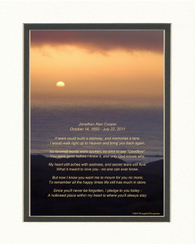 Personalized Memorial Gift with If Tears Could Build A Stairway Poem. Ocean Sunset Photo, 8x10 Double Matted. A Thoughtful Sympathy Gift.