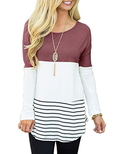 - Sherosa Women's Casual Color Block Lace Inset Long Sleeve T Shirt Tunic Tops (M, Dark Pink)
