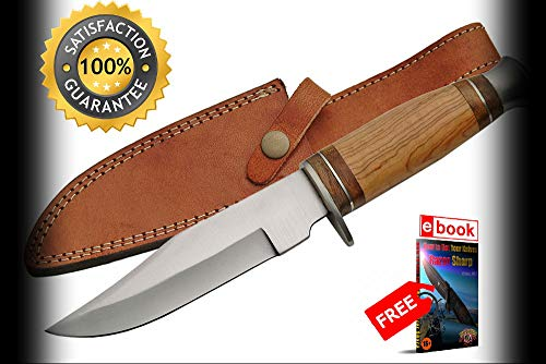 - FIXED BLADE HUNTING SHARP KNIFE 10'' Olive Wood Full Tang Skinner Blade with Sheath Combat Tactical Knife + eBOOK by Moon Knives