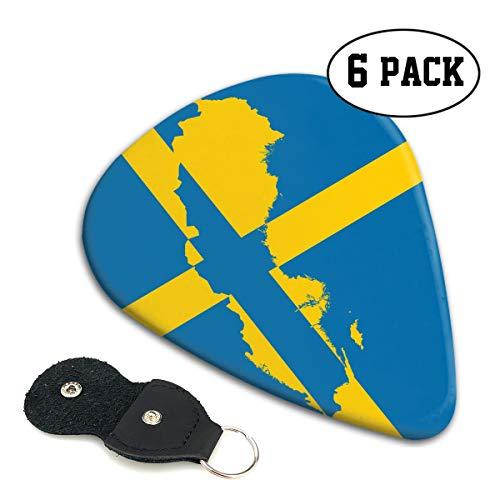 WOODRAIN Sweden Swedish Flag Map Guitar Picks 351 Shape Classic Picks Celluloid Paddles Plectrums 6-Pack - Sweden Shape