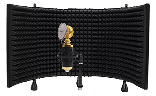 Package: Rockville RCM02 Pro Studio Recording Condenser Microphone With Metal Construction and Shock Mount + Rockville RMF1 Studio Microphone Isolation Shield with Sound Dampening Foam