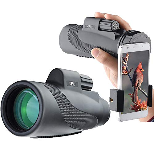 🥇 Gosky Titan 12X50 High Power Prism Monocular and Quick Smartphone Holder – Waterproof Fog- Proof Shockproof Scope -BAK4 Prism FMC for Bird Watching Hunting Camping Travelling Wildlife Secenery