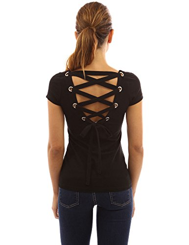 PattyBoutik Women's Scoop Neck Lace Up Back Blouse (Black - Sleeve Open Tie Short