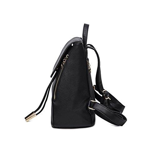 WINK KANGAROO Fashion Shoulder Bag Rucksack PU Leather Women Girls Ladies Backpack Travel bag (Black) by WINK KANGAROO (Image #3)