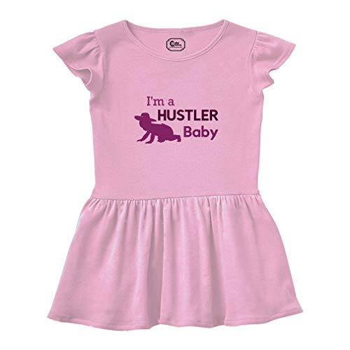 Cute Rascals I'm A Hustler Short Sleeve Taped Neck Girl Cotton Toddler Rib Dress School Clothes - Soft Pink, 2T ()