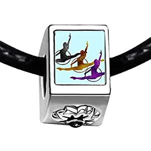 Chicforest Silver Plated Olympics 3 female gymnast jump Photo Black Crystal Flower Charm Beads Fits Pandora Charms