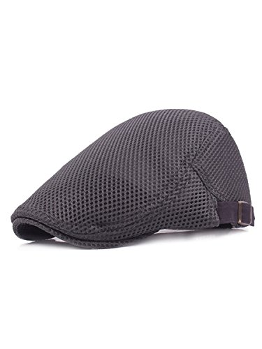 LITHER Men Summer Breathable Mesh Duckbill Hat Newsboy Beret Ivy Cabbie Flat Cap Grey