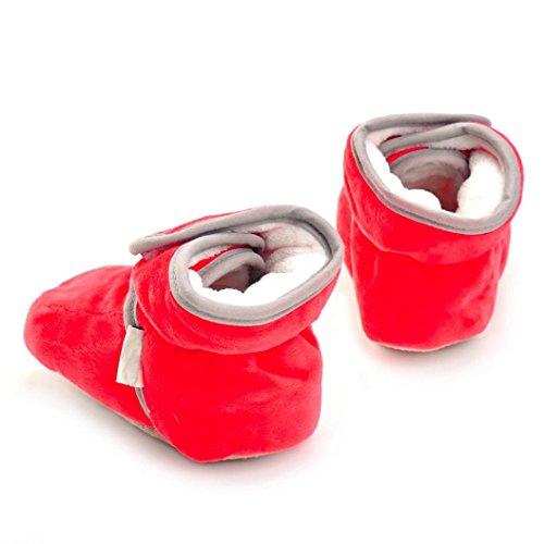 Hunpta Neugeborenes Säuglingsbaby Mädchen feste Krippe schuhe Weiche alleinige rutschfeste Aufladung Rot