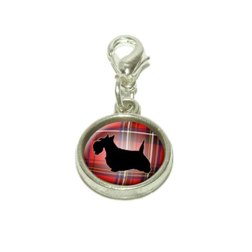 Scottie Dog on Red Plaid Scottish Terrier Dangling Bracelet Pendant Charm (Scottie Dog Charm)
