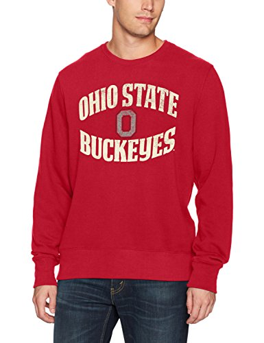 NCAA Ohio State Buckeyes Adult Men NCAA Men's Ots Fleece Crew Distressed, Small, Red