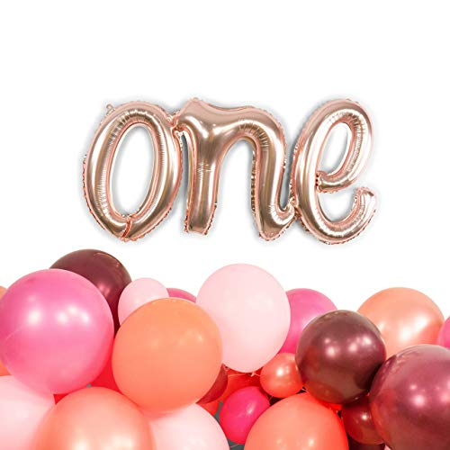 : Rose Gold One Script Mylar Balloon 14 inches tall