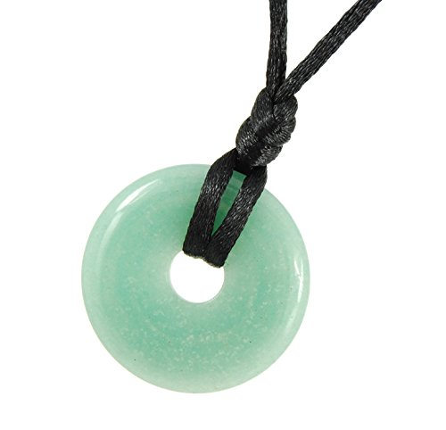 Steampunkers USA Stone Wheelies - 30mm Classic Green Aventurine - 20-22 Inch Adjustable Black Cord - Crystal Gemstone Collectibles Carved Necklace Handmade Charm