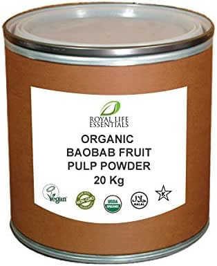 Baobab Fruit Pulp Powder - Raw USDA Certified Organic 20KG or 44lbs. - Bulk Superfood Herbal Vitamins Minerals Iron Supplements for Skin Weight Collagen Heart & More