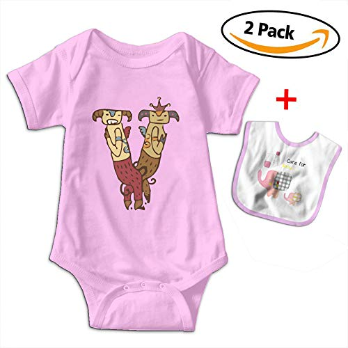 Louis Woodrow V Couple Sheep Unisex Cotton Short Sleeve Baby Onesies Toddler Jumpsuit with Bib by Louis Woodrow